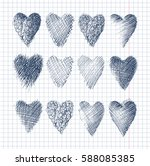 heart icons set  hand drawn... | Shutterstock .eps vector #588085385