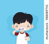 Little Cute Boy Happy To...