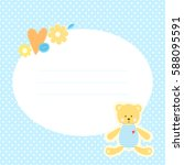 cute greeting card with teddy... | Shutterstock .eps vector #588095591
