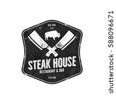 steak house vintage label.... | Shutterstock . vector #588096671