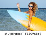 young sexy woman with long... | Shutterstock . vector #588096869