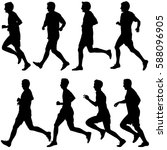 set of silhouettes runners on... | Shutterstock . vector #588096905