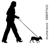silhouette of people and dog.... | Shutterstock . vector #588097631