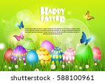 happy easter decorated colorful ... | Shutterstock .eps vector #588100961