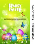 happy easter decorated colorful ... | Shutterstock .eps vector #588100991