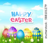happy easter decorated colorful ... | Shutterstock .eps vector #588101279