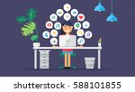 web social network concept for... | Shutterstock .eps vector #588101855