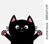 Stock vector black cat ready for a hugging open hand pink paw print kitty reaching for a hug funny kawaii 588107159
