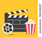 big open clapper board movie... | Shutterstock .eps vector #588108287