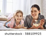 happy loving family. mother and ... | Shutterstock . vector #588109925