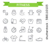 fitness icons  thin line  flat... | Shutterstock .eps vector #588110105