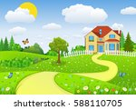 rural landscape with fields and ... | Shutterstock .eps vector #588110705
