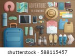 travel accessories prepared for ... | Shutterstock .eps vector #588115457