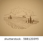 tuscany landscape with fields ... | Shutterstock . vector #588120395