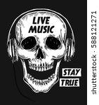 live music slogan with skull... | Shutterstock .eps vector #588121271