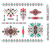set of fashion mexican  navajo... | Shutterstock .eps vector #588126077