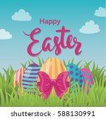 vector typographic easter... | Shutterstock .eps vector #588130991