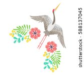 embroidery with asian crane ... | Shutterstock .eps vector #588137045