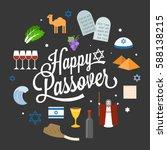 happy passover poster pictogram ...   Shutterstock .eps vector #588138215