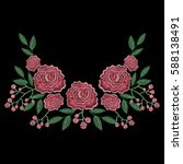 embroidery stitches with rose... | Shutterstock .eps vector #588138491