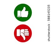 thumb up  thumb down  green and ... | Shutterstock .eps vector #588145235
