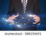 businessman with network... | Shutterstock . vector #588154691