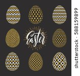 a set of easter eggs decorated... | Shutterstock .eps vector #588159899