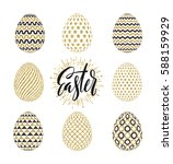 a set of easter eggs decorated... | Shutterstock .eps vector #588159929