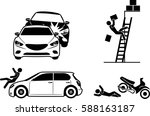four icons for accident... | Shutterstock .eps vector #588163187