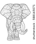 adult coloring book elephant... | Shutterstock .eps vector #588165071