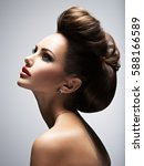 beautiful woman with style... | Shutterstock . vector #588166589