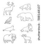 set of stylized vector arctic... | Shutterstock .eps vector #588168107
