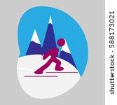 ski race  sport  icon  logo ...   Shutterstock .eps vector #588173021