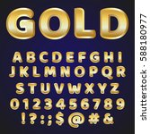 golden alphabet vector font....   Shutterstock .eps vector #588180977
