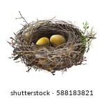gold eggs in bird's nest. hand... | Shutterstock .eps vector #588183821