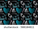 seamless pattern abstract love... | Shutterstock . vector #588184811