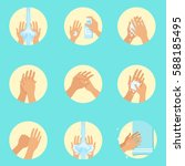 hands washing sequence... | Shutterstock .eps vector #588185495