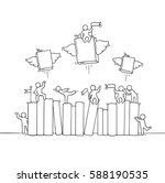 sketch of working little people ... | Shutterstock .eps vector #588190535