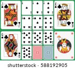 Playing cards club suit, faces and joker double sized. Two cards back and green background.  - stock vector