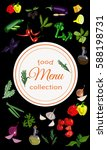 vertical vegetable menu with...   Shutterstock .eps vector #588198731