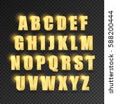 golden alphabet on  transparent ...   Shutterstock .eps vector #588200444