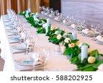 wedding table settings. | Shutterstock . vector #588202925