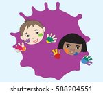 children with painted... | Shutterstock .eps vector #588204551