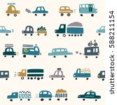 seamless pattern with cute cars | Shutterstock .eps vector #588211154