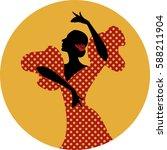 spanish flamenco dancer. vector ... | Shutterstock .eps vector #588211904