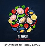 the variety of shellfish and... | Shutterstock .eps vector #588212939