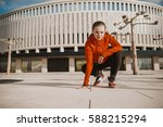 woman concentrated ready to run ... | Shutterstock . vector #588215294