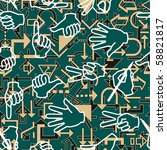 seamless pattern with hand...   Shutterstock .eps vector #58821817