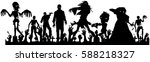 Vector Silhouette Of  Crowd Of...