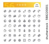 set of 56 food line icons... | Shutterstock .eps vector #588220001